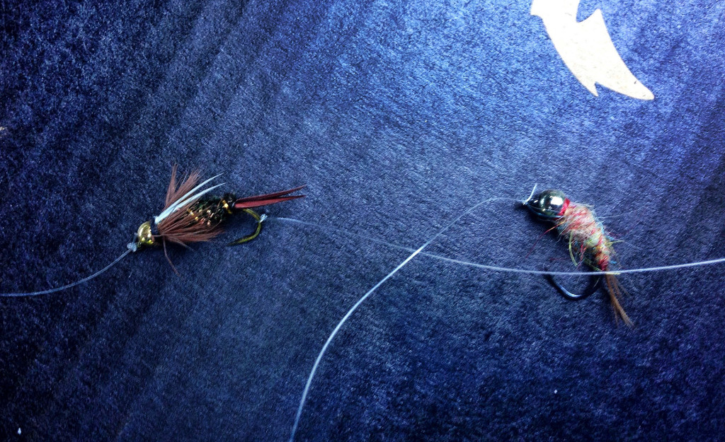 Dropper Attached to Bend of Hook Showing Two Flies - Two Fly Setup
